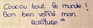 Écriture scripte d'une élève de cm2